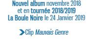 Nouvel album novembre 2018 et en tournée 2018/2019 La Boule Noire le 24 Janvier 2019 Clip Mauvais Genre
